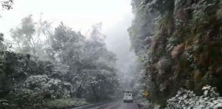 Se registra nevada en Tlanchinol